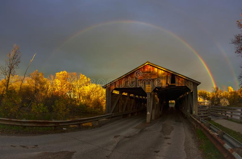 Rainbow over the Pulp Mill Bridge royalty free stock photo