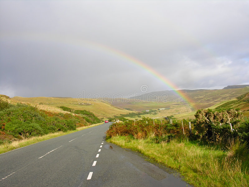 Download Rainbow over the road stock image. Image of beauty, happy - 3491835