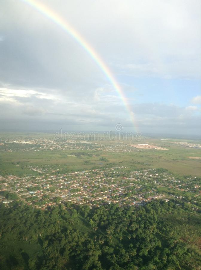 RAINBOW OVER THE SKY IN MATURIN. Rainbow over the Sky in the City of Maturin, located in Monagas State in Venezuela stock photo