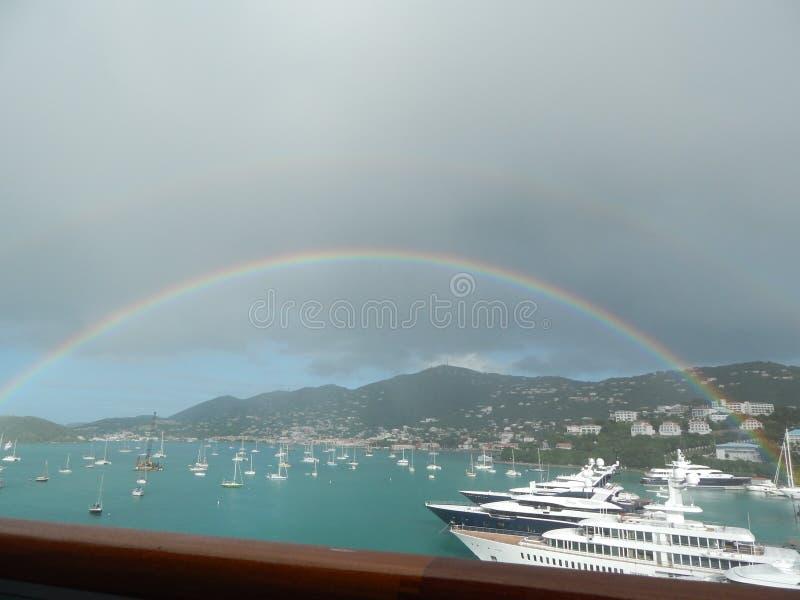 Rainbow over St Thomas USVI royalty free stock photography