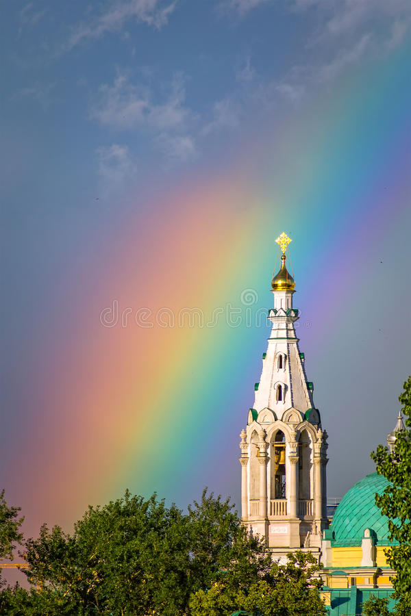 Rainbow over the Temple of Sophia Wisdom God. Rainbow over the Temple of Sophia Wisdom of God in the Middle Sadovniki stock photography