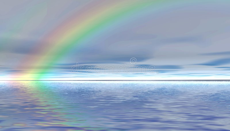 Rainbow. Paesaggio panoramico. illustrazione vettoriale