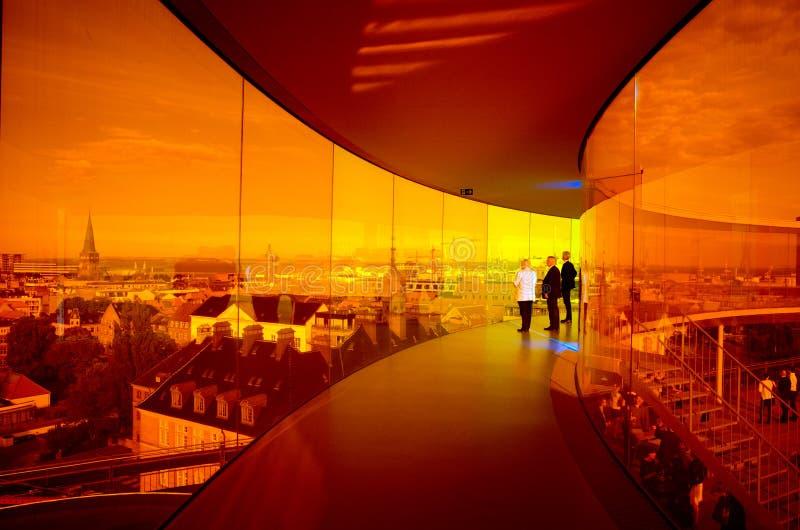 Rainbow panorama of Aarhus, Denmark royalty free stock images