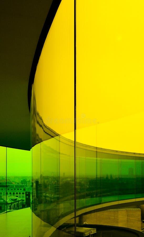 Rainbow Panorama in yellow, Aarhus, Denmark stock photos