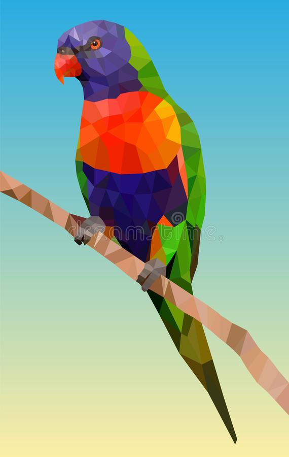 Rainbow parrot in low poly vector illustration
