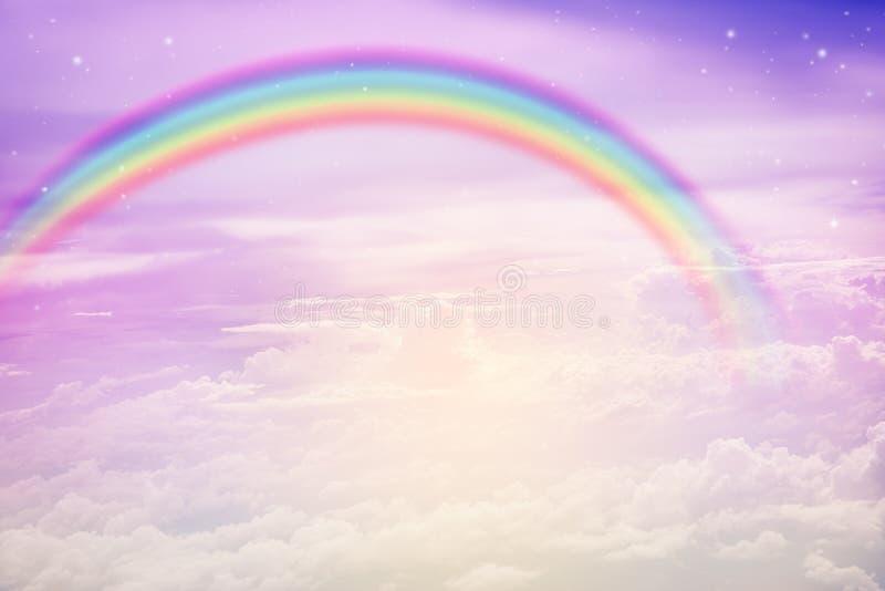 Rainbow on pastel sky royalty free stock photo