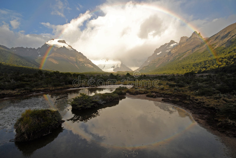Rainbow in Patagonia. Argentina. royalty free stock images