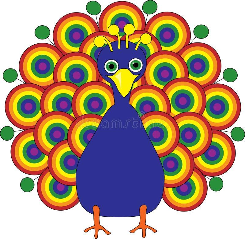 Rainbow Peacock royalty free illustration