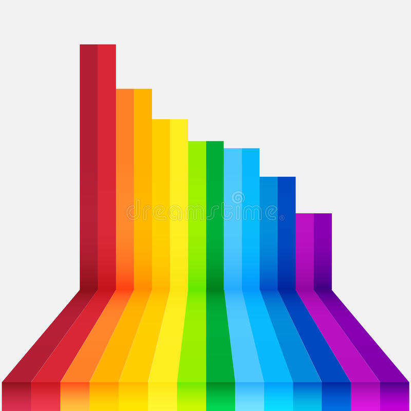 Rainbow perspective background. Rainbow perspective colourful background scene royalty free illustration