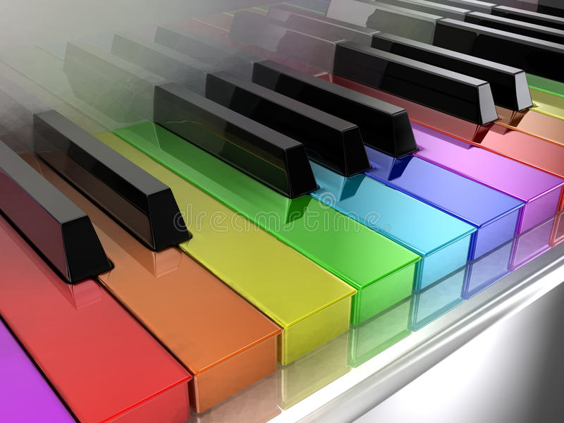The rainbow piano stock illustration