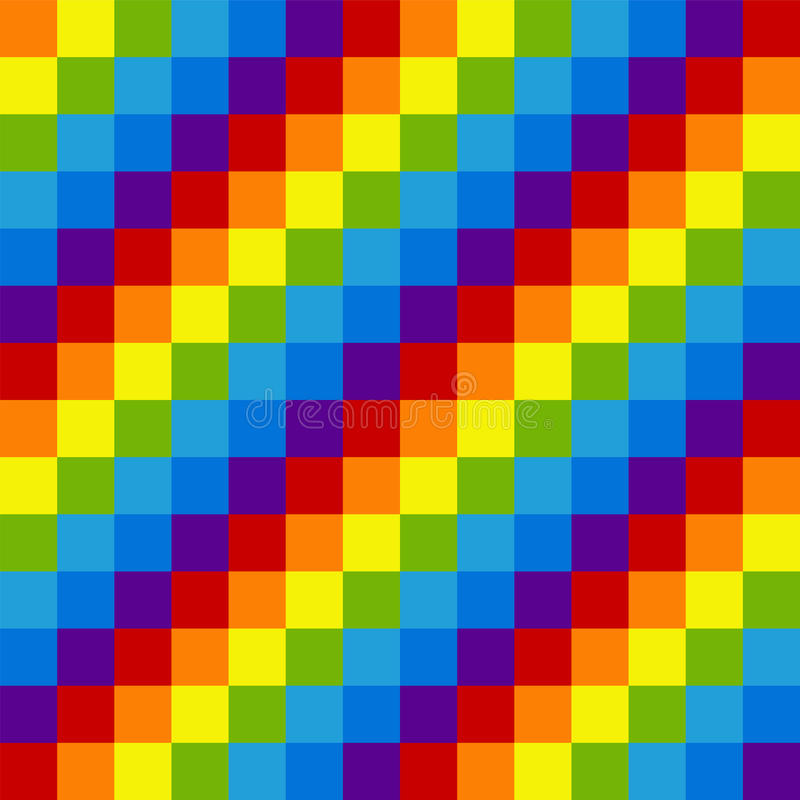 Rainbow Pixel Seamless Pattern Alternating Colored Diagonal