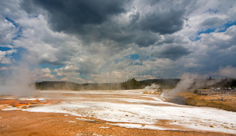Rainbow Pool hot spring run off past the Cliff Geyser into Iron Spring Creek in Black Sand Basin in Yellowstone National Park USA royalty free stock photography