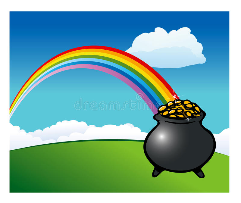 Rainbow pot of gold stock illustration