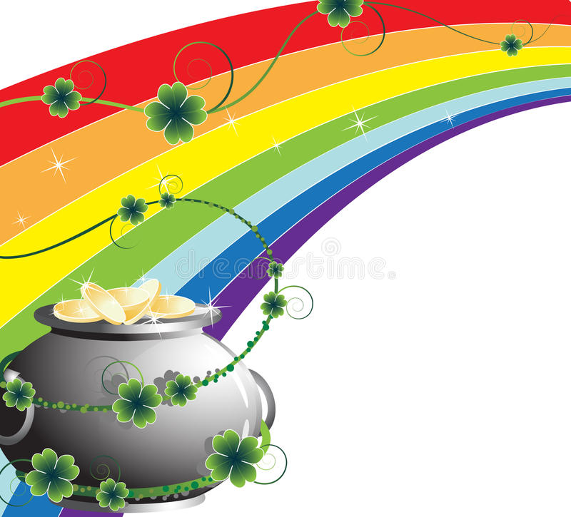Rainbow and pot with gold stock illustration
