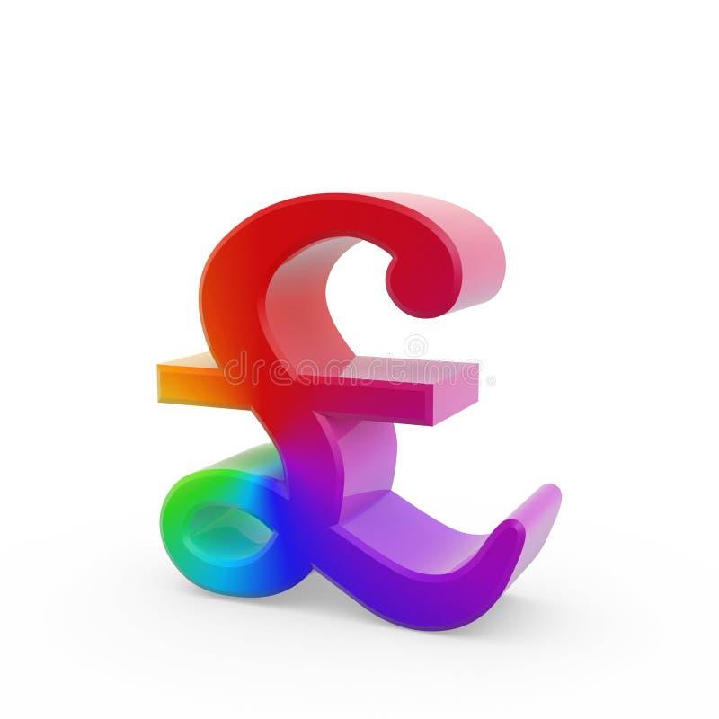 Rainbow Pound Symbol Stock Image