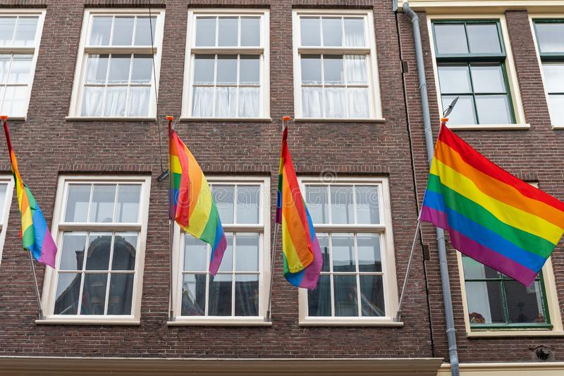 Rainbow Pride Flags. At Building in Amsterdam stock photo
