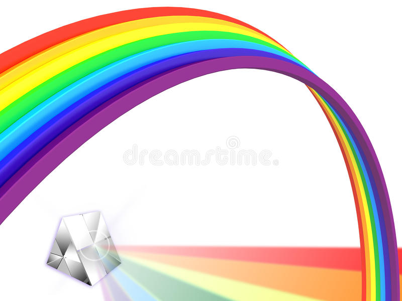 Rainbow with a prism stock image