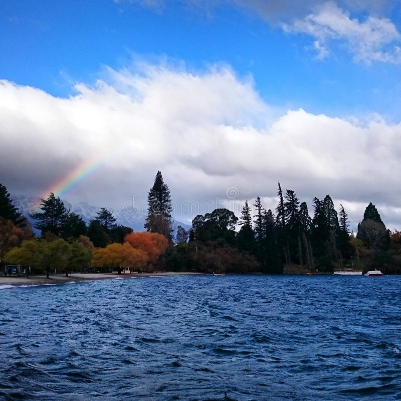 Rainbow in Queenstown amazing royalty free stock images