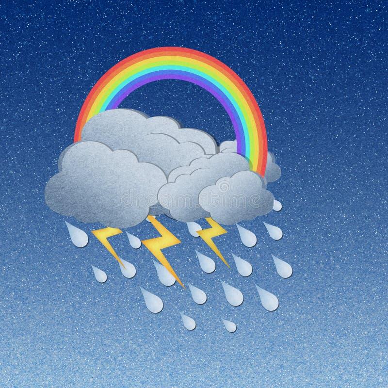 Rainbow with rain. Grunge recycled paper rainbow with rain stock illustration