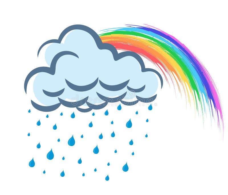 Rainbow with rain. vector illustration