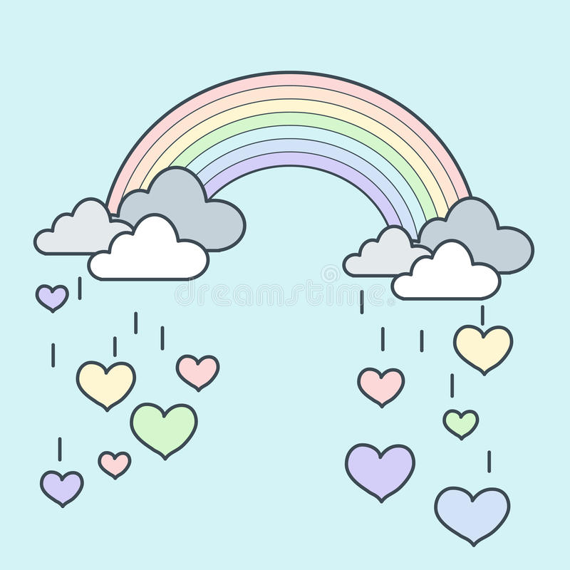 Free Rainbow Rain Heart Royalty Free Stock Images - 53151659