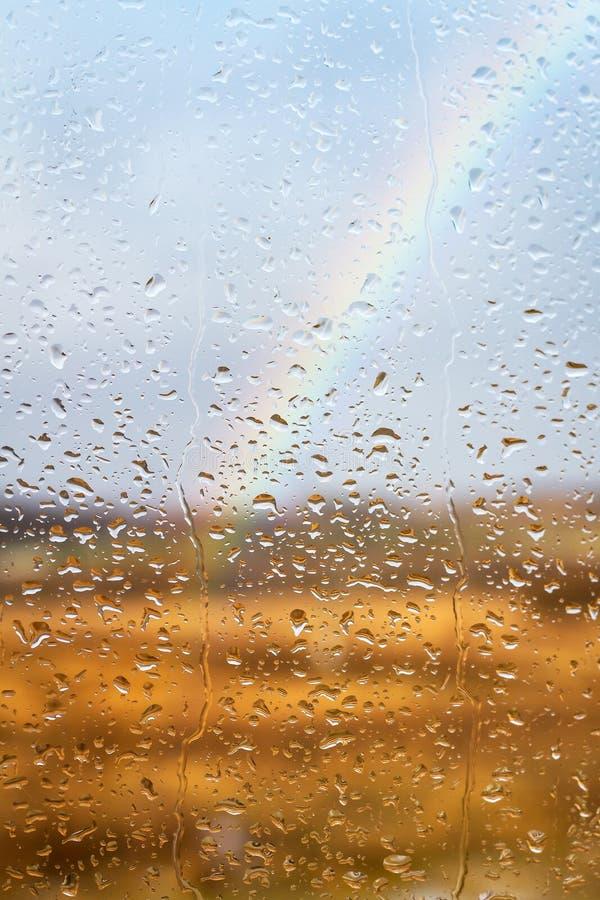 Download Rainbow Through Rained Window Background Stock Photo - Image: 29006126