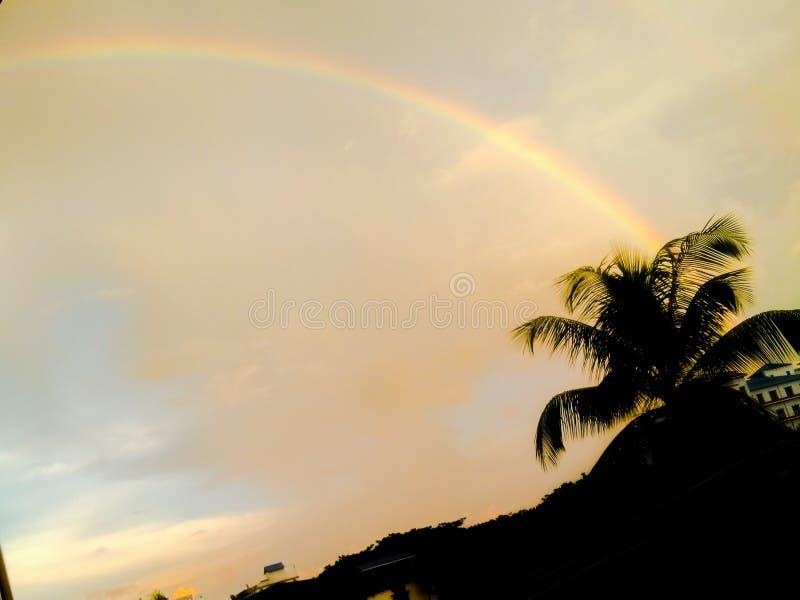 Rainbow the rainy day royalty free stock photos