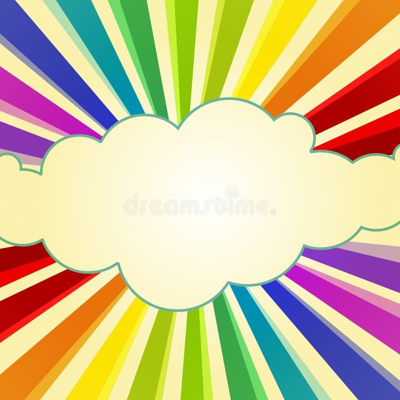Rainbow Rays around a Cloud vector illustration