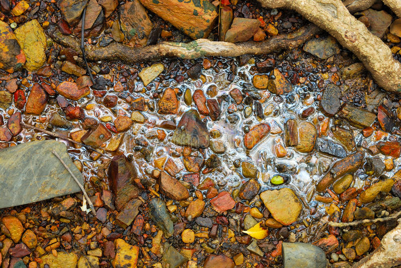 Rainbow reflection of crude oil spill on the stone royalty free stock photography