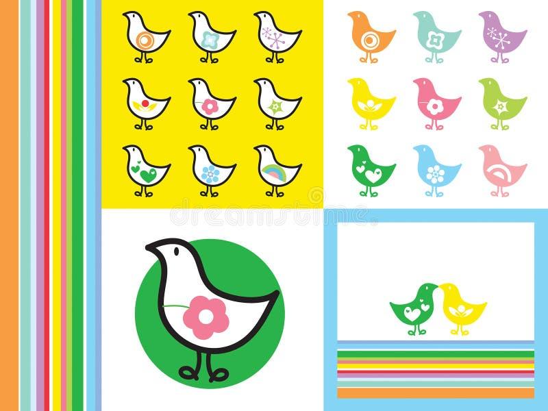 Rainbow retro chicks. Rainbow retro icon chicks - illustration royalty free illustration
