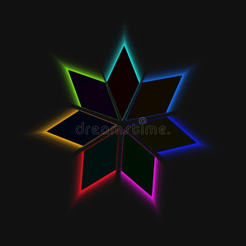 Rainbow rhombic designed graphic  . Rainbow rhombic design on black background . vector graphic wallpaper designed graphics stock illustration