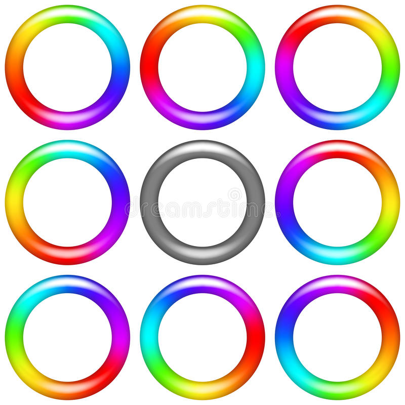 Rainbow ring, set. Billet for flash animation. Revolving rainbow ring, eight positions and gray version. Web design element. Vector eps10, contains stock illustration