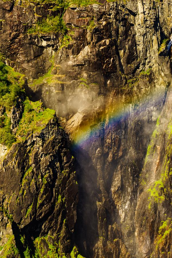 Rainbow in rocky mountains. Rainbow in in rocky mountains in summer, Mabodalen valley Norway. National tourist Hardangervidda route stock photos