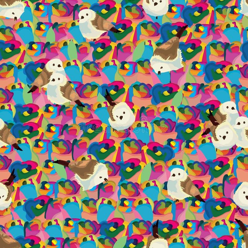 Rainbow rose seamless pattern bird vector illustration