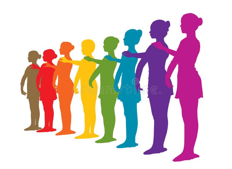 Rainbow row of ballet dancers. Illustration of rainbow row of ballet dancers. One boy and seven girls standing in a row. Rainbow colored silhouettes. Isolated stock illustration