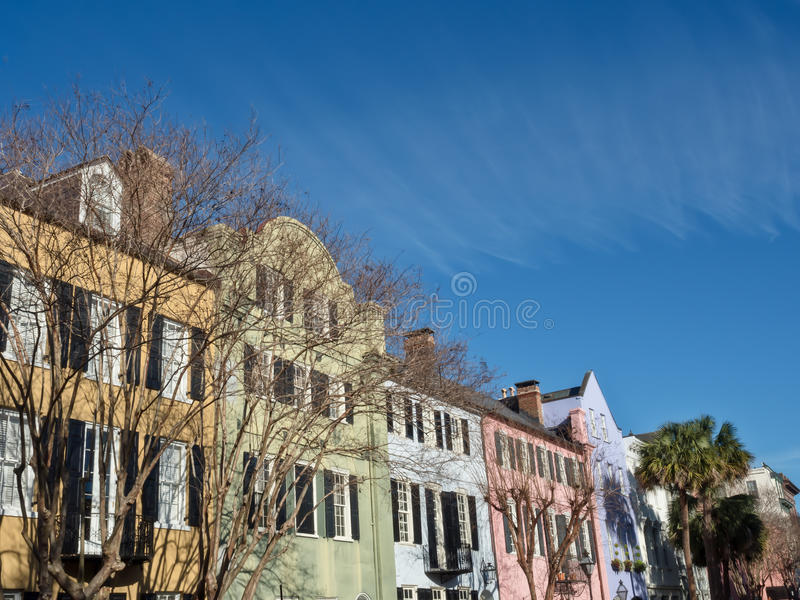 Rainbow Row in Charleston, SC royalty free stock photos