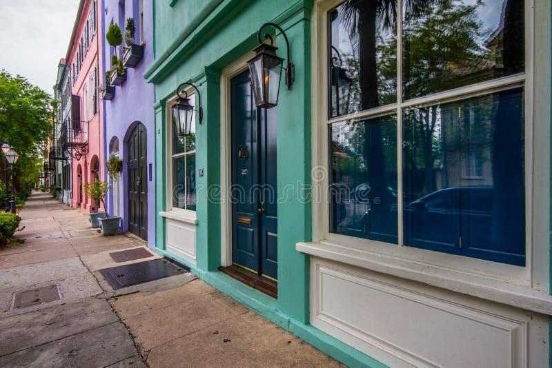 Rainbow Row, Charleston, South Carolina lizenzfreie stockfotografie