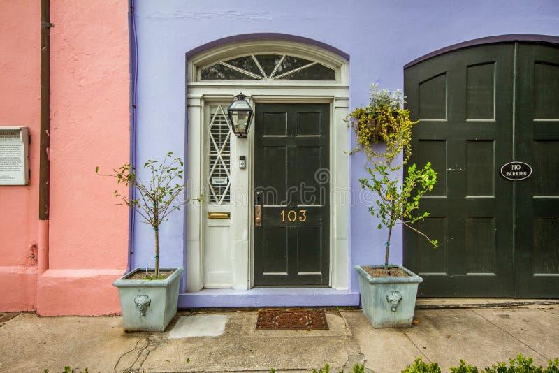 Rainbow Row, Charleston, South Carolina lizenzfreie stockfotos