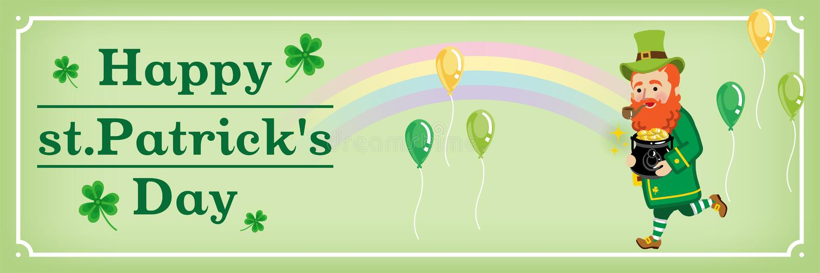 Rainbow and Running Leprechaun - St. Patrick`s Day Greeting card layout Design stock illustration