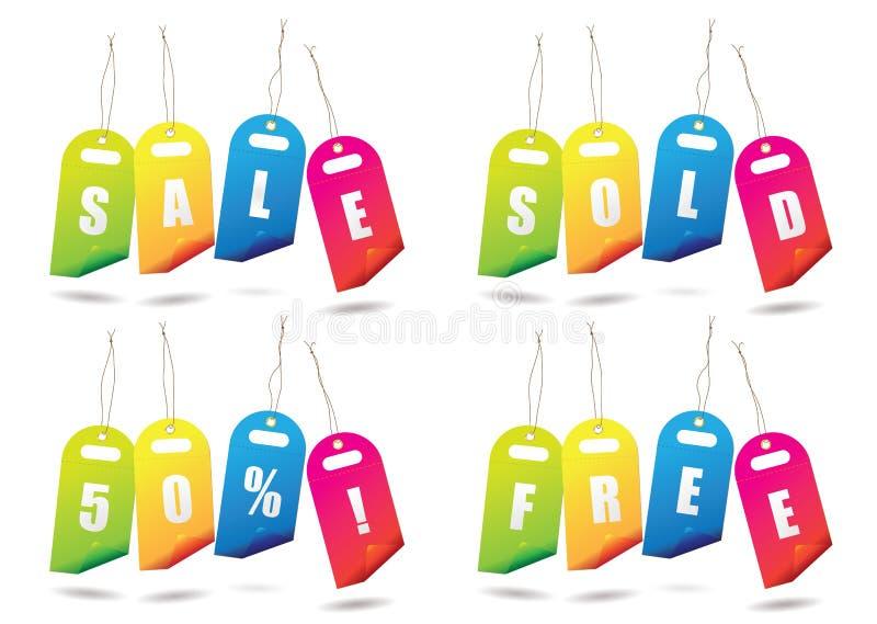 Rainbow sale tags royalty free illustration