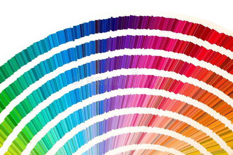 Rainbow sample colors catalogue in many shades of colors or spectrum isolated on white background. Color chart, sampler, palette. royalty free stock photo