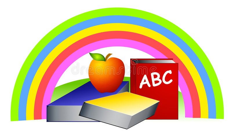 Download Rainbow Schoolbooks Apple Stock Photography - Image: 4737862