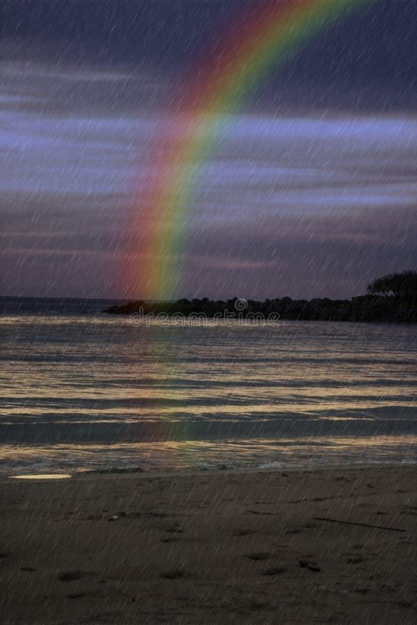 Rainbow on the sea stock photos