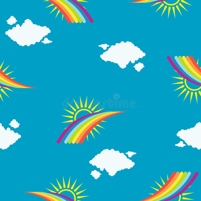 Rainbow seamless pattern stock image