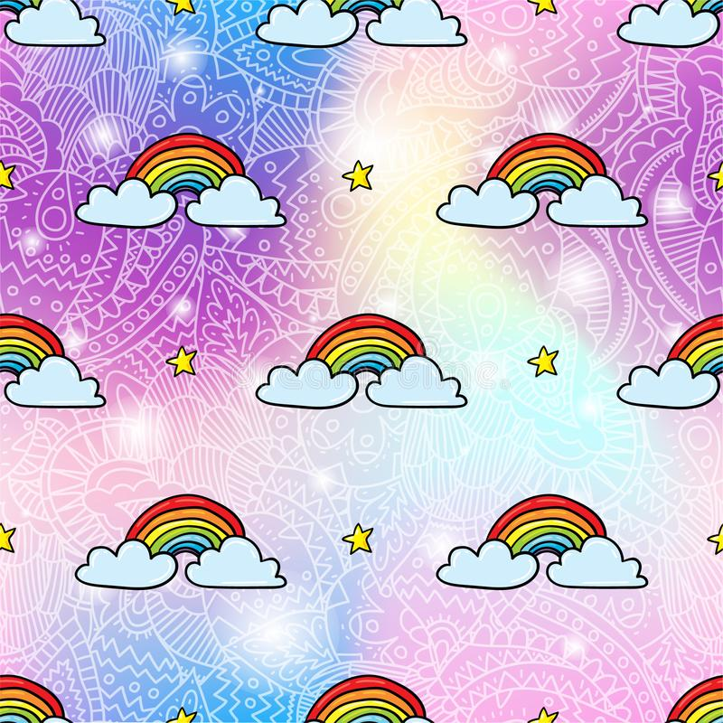 Rainbow seamless pattern background stock illustration
