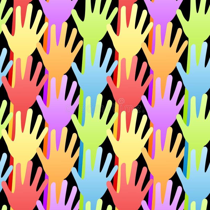 Rainbow senza giunte che si offre volontariamente la priorità bassa delle mani illustrazione vettoriale