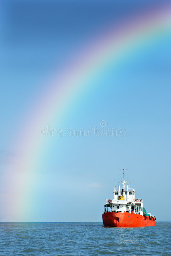 rainbow ship arkivbild