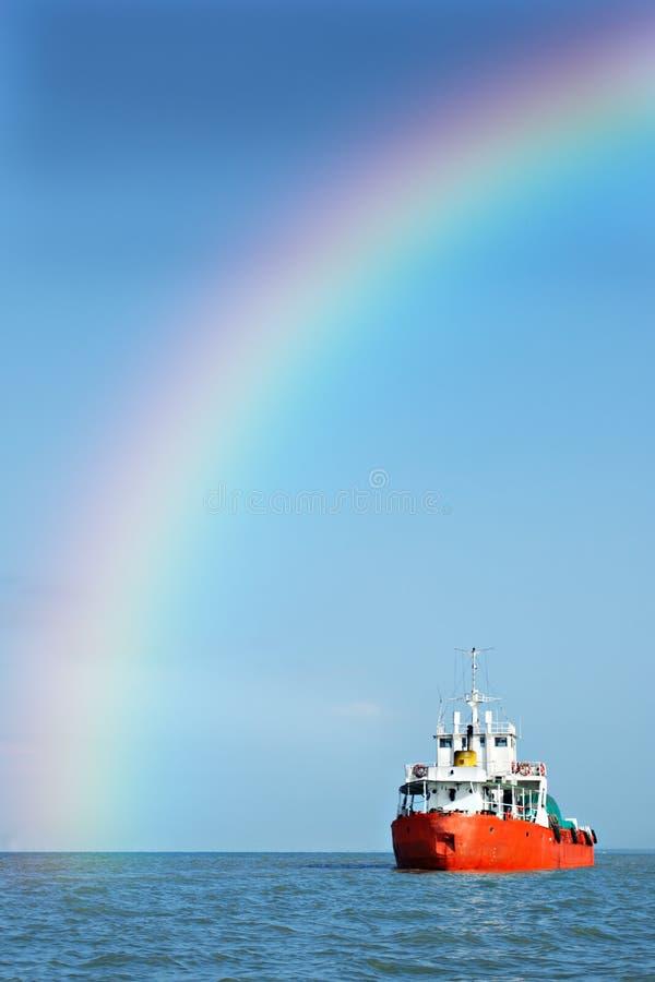 Rainbow ship stock photography