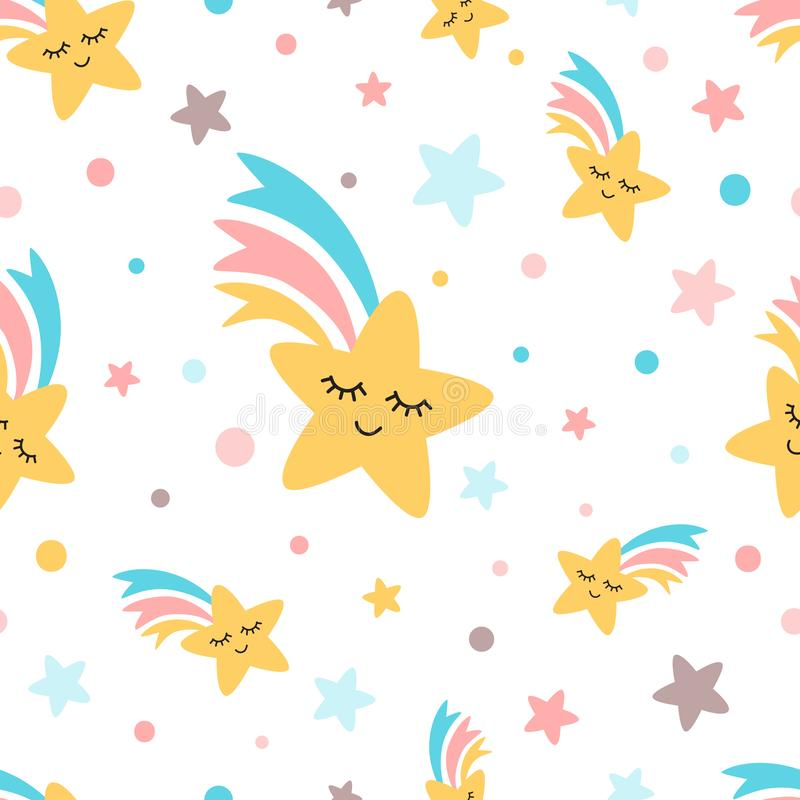 Rainbow shooting star repeat seamless pattern Fun cute kids elements White background Vector royalty free illustration