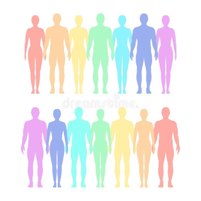 Rainbow of silhouettes of men and women. Vector flat illustration. vector illustration